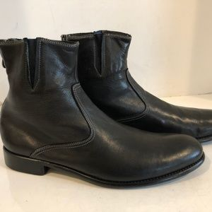 23057ba4d44 Paul Smith Black Italian Leather Zipper Mens Boots